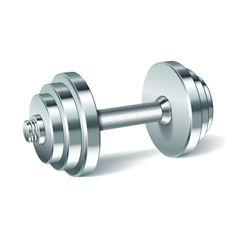 Metal realistic dumbbell isolated