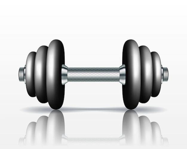 Metal realistic dumbbell  on white background. realistic  illustration.