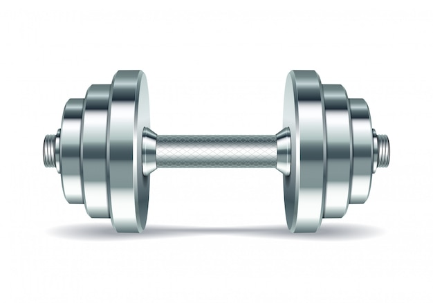 Metal realistic dumbbell
