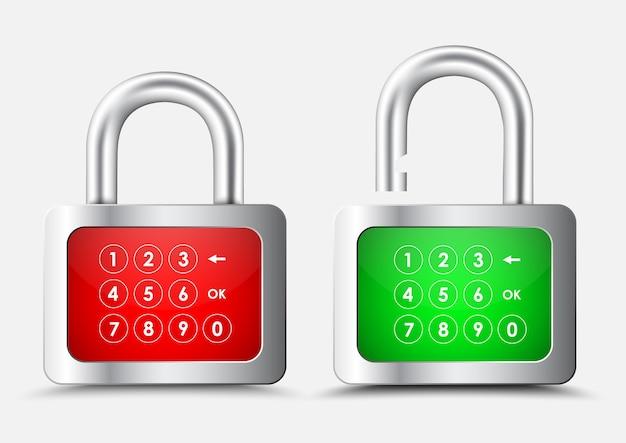 Металлический прямоугольный навесной замок с красно-зеленым дисплеем с цифровой клавиатурой для ввода pin-кода или пароля.