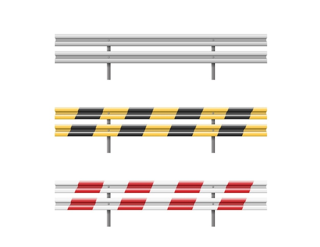 Metal road barriers set isolated on white
