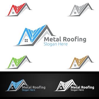 シングルルーフ不動産または便利屋建築設計のための金属屋根のロゴ