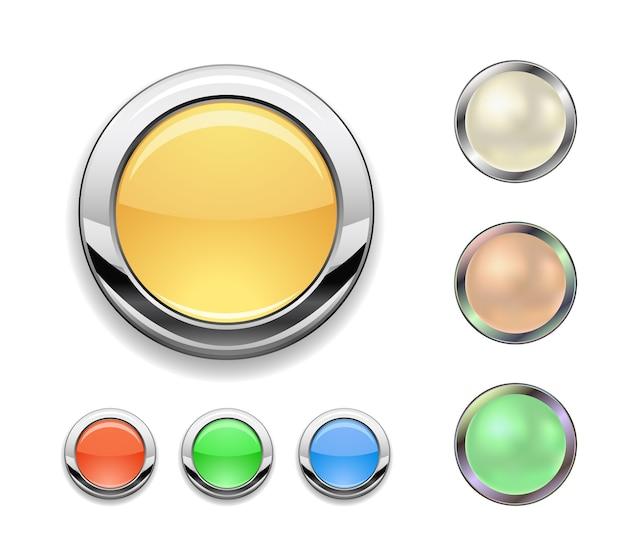 Metal round button icon set