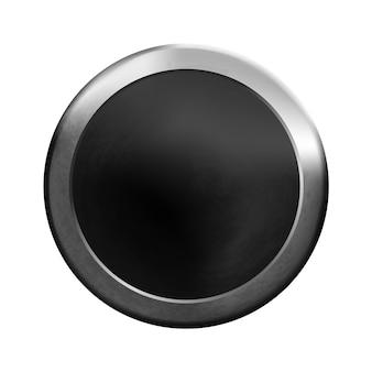 Uiとアプリケーションのための金属の丸いポリゴン黒の空白のボタンテンプレート金属の背景