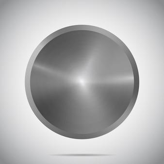 グラデーションの背景にリアルな影とまぶしさを持つ金属の丸いテンプレートメタリックテクスチャプレート