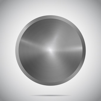 Metal round template with realistic shadow and glare on gradient background metallic texture plate