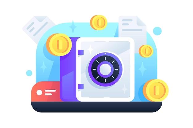 돈 보안을 위해 콤비네이션 자물쇠를 사용하는 황금 동전으로 금속 안전. 웹 스타일에 현금 보호 기술의 고립 된 아이콘 개념.