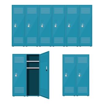 Металлическая школа шкафчик иллюстрация, изолированных на белом