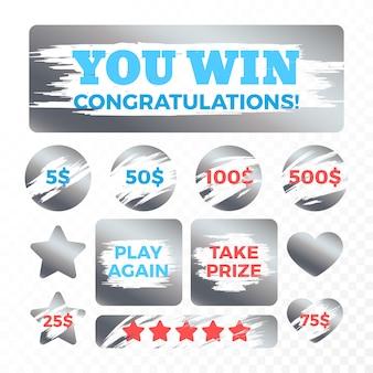 宝くじチケットの金属スクラッチマークベクトルを設定します。宝くじイラストでの賞と報酬