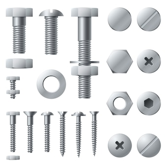 Metal screws. bolt screw nut rivet head steel construction elements. realistic bolts isolated set