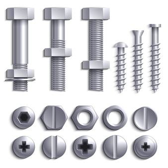 Metal screws, steel bolts, nuts, nails and rivets isolated on white vector set