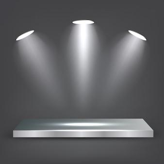 Metal shelf with spotlights