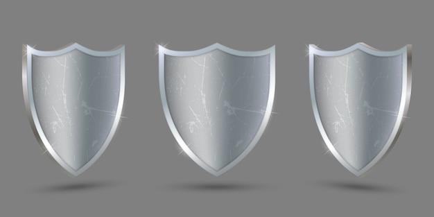 Металлический щит на прозрачном фоне, защита.