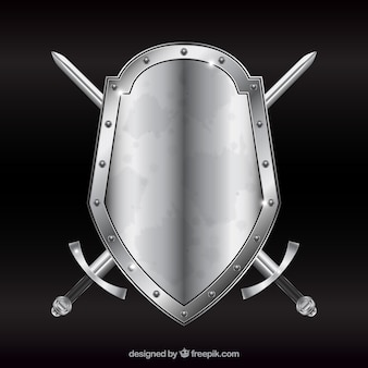 Metal shield with swords