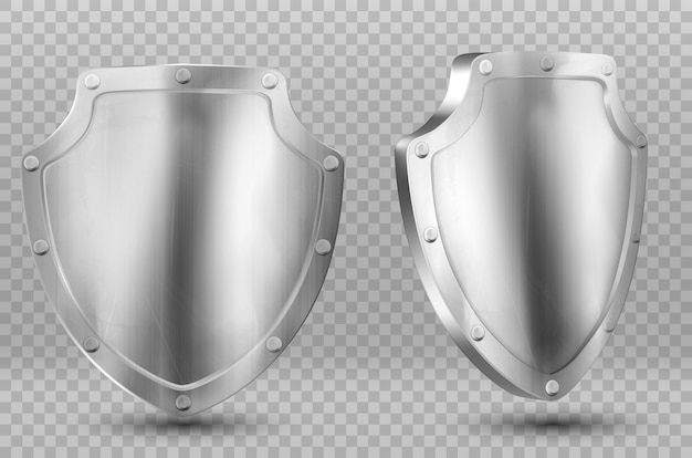 Metal shields, blank silver or steel metallic screens with frames and rivets and reflection glow. award trophy front and side view isolated , realistic 3d vector illustration.