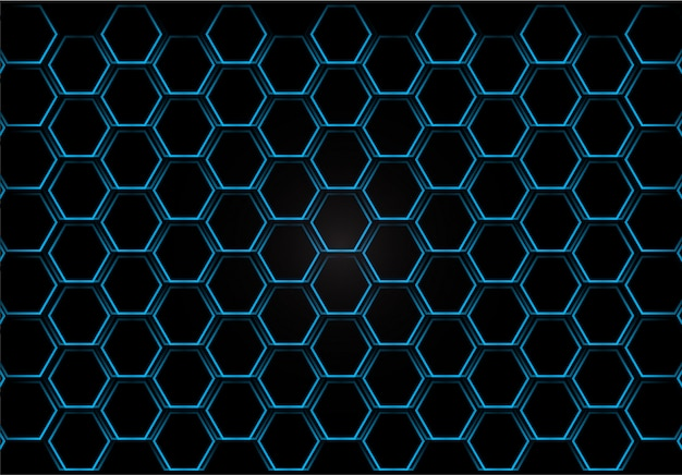 Metal shine hexagon grid on blue background. vector