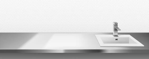 Металлическая раковина с краном для кухни или ванной