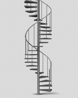 Metal spiral, helical staircase realistic vector