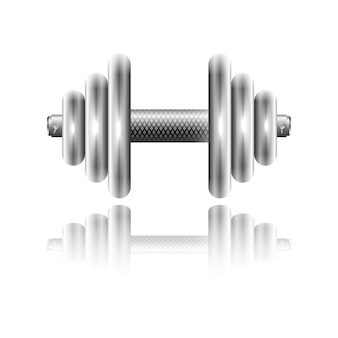 Metal sports dumbbell with reflection