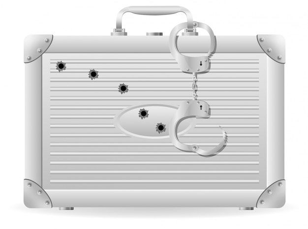 Metal suitcase with handcuffs riddled with bullets.
