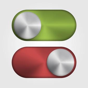 Металлический выключатель для приложений и сайта. красный и зеленый цвет.
