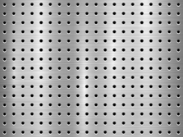 Metal technology background with seamless circle perforated pattern