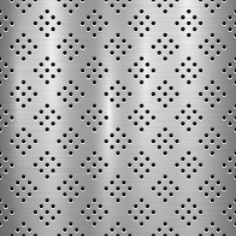 Metal technology background with with seamless circle perforated pattern and circular polished, brushed texture, chrome, silver, steel