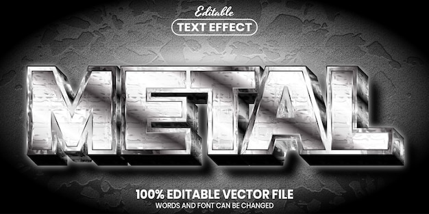 Metal text, font style editable text effect