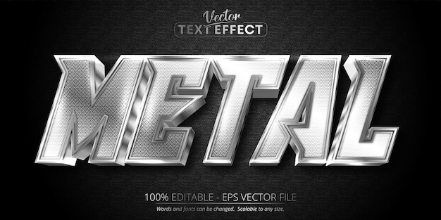 Metal text shiny silver color style editable text effect on dark textured background Premium Vector