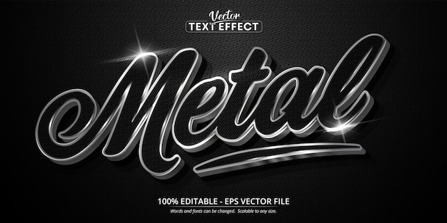 Metal text, shiny silver style editable text effect