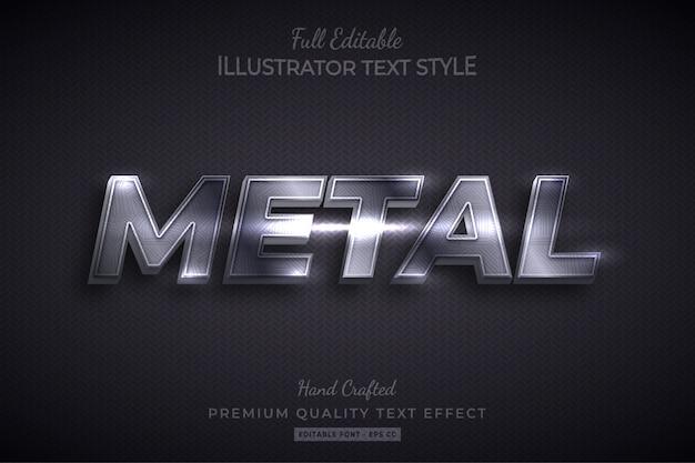 Metal texture editable 3d text style effect premium Premium Vector
