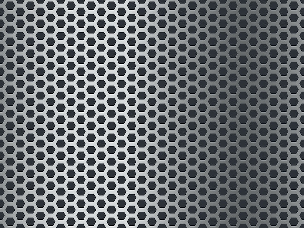 Metal texture pattern. seamless steel plate, stainless mesh. chrome hexagon grunge aluminum perforated mosaic finish  background