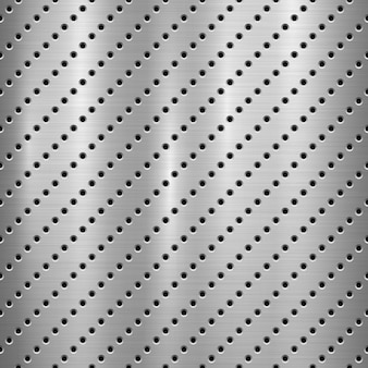 Metal textured technology background with perforated holes