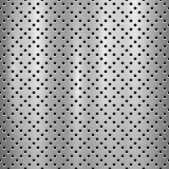 Metal textured technology background with perforated pattern