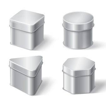 Metal tin boxes for coffee, tea or candies