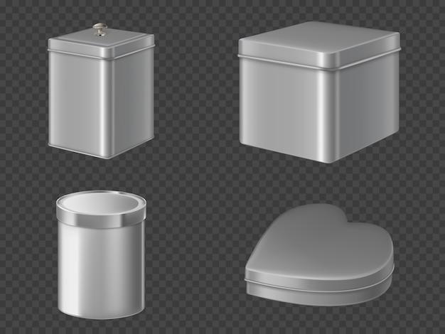 Set di scatole di latta di metallo