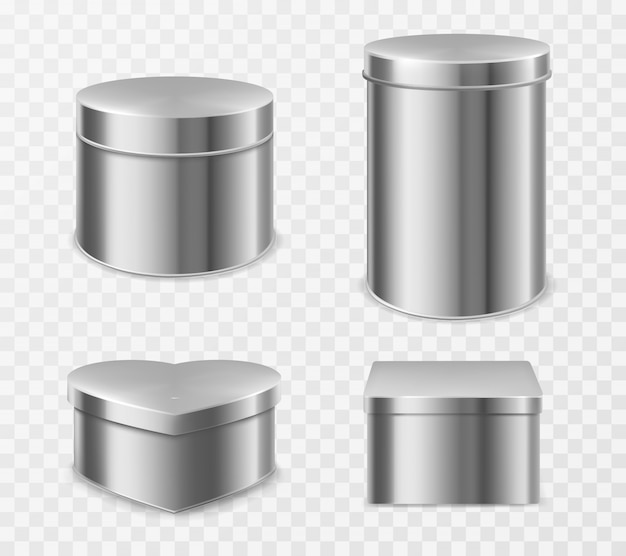 Metal tin boxes for tea, candies or coffee