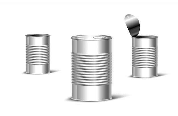 Металлическая консервная банка открытого и закрытого вида. пакет для продуктов и шаблон продвижения