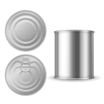 Metal tin can. canned foods  , aluminium steel package closed with ring pull, realistic silver blank isolated template