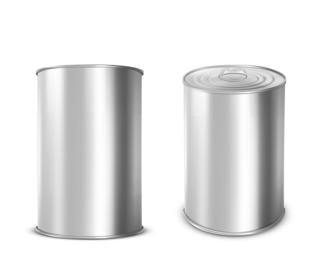 Metal tin can for food with ring pull on lid