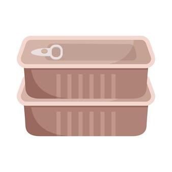 金属ブリキ缶アイコンラベルなし。肉や魚の長期保管