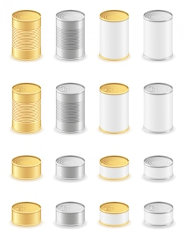 Metal tin can set icons.