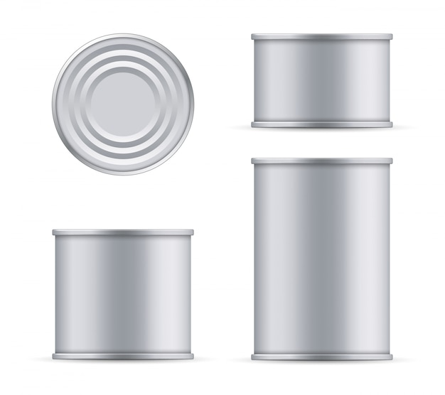 Metal tin can of tuna top and front view template.