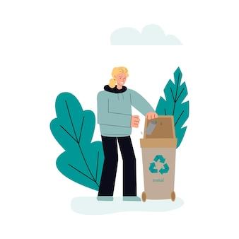 금속 쓰레기 분류 및 재활용 개념 스케치 벡터 일러스트 절연