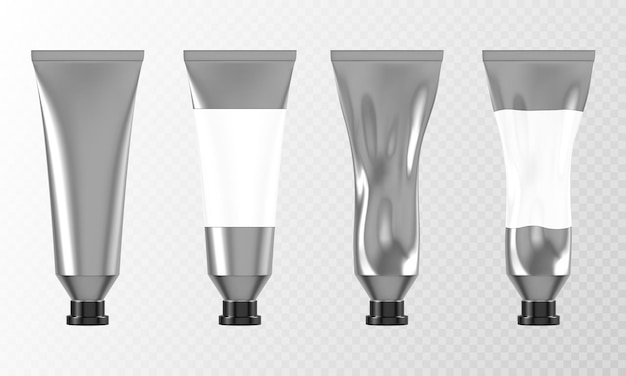 Metal tube for hand cream or paints d mockup