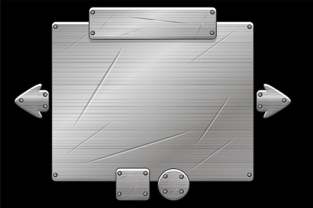 Metal ui board pop up for game, gray iron frame.