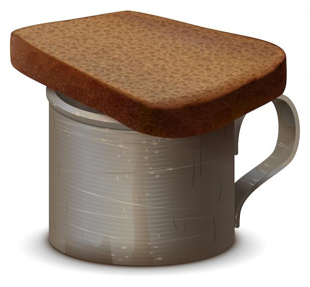 Металлическая кружка с водой и кусочком серого хлеба. символ памяти мертвых