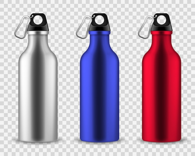 Metal water bottle. drinking reusable bottles, drink aluminum flask fitness sports realistic stainless set