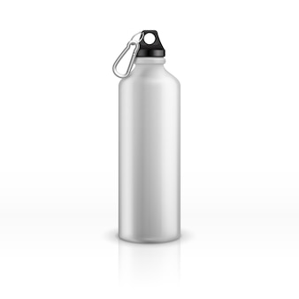 Metal water bottle. white realistic reusable drink flask. fitness sports stainless thermos