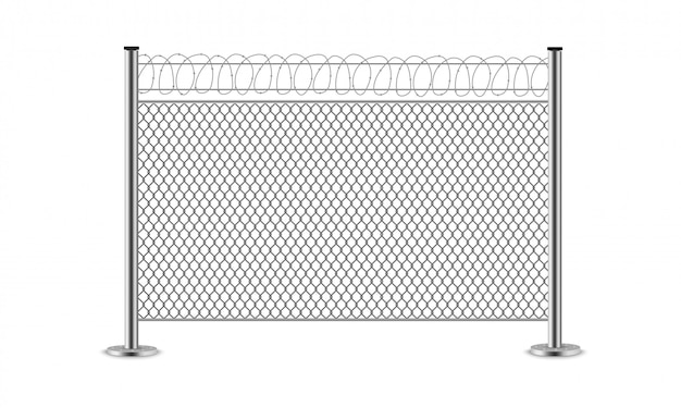 Metal wire fence. steel gates. mesh, barbed wire.